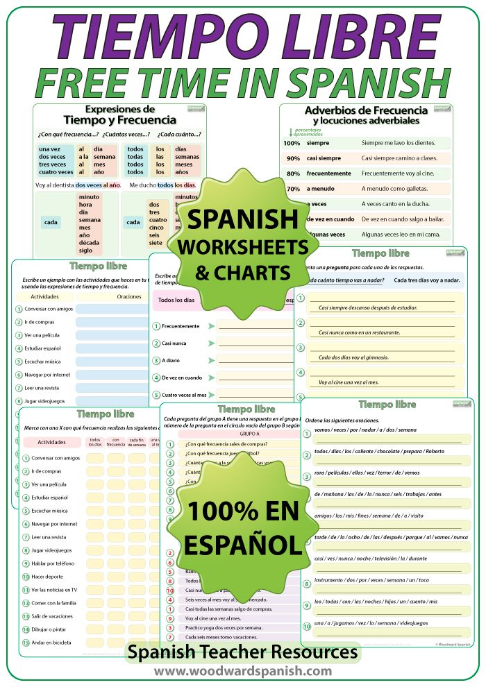 Tiempo Libre - Spanish Worksheets | Time activities, Spanish and ...