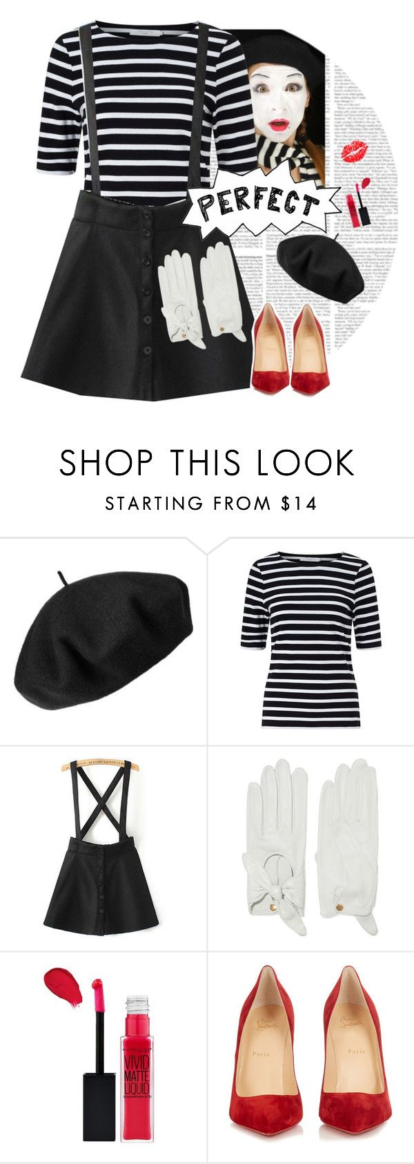 """""""Mime"""" by dory-speaks-whale ❤ liked on Polyvore featuring Betmar, John Lewis, Causse, Maybelline and Christian Louboutin"""