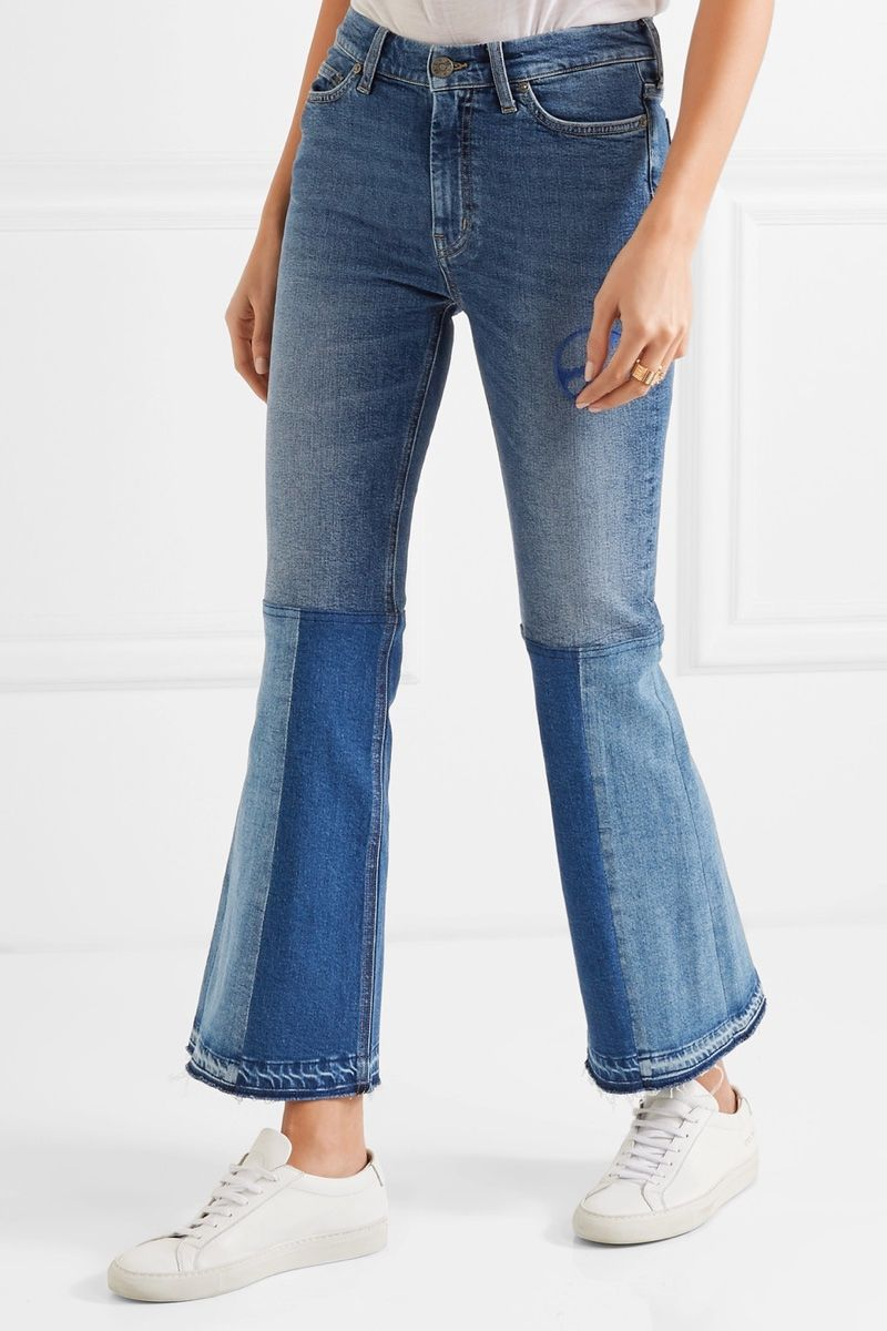M.i.h Jeans Angie Patchwork Embroidered Mid-Rise Flared Jeans
