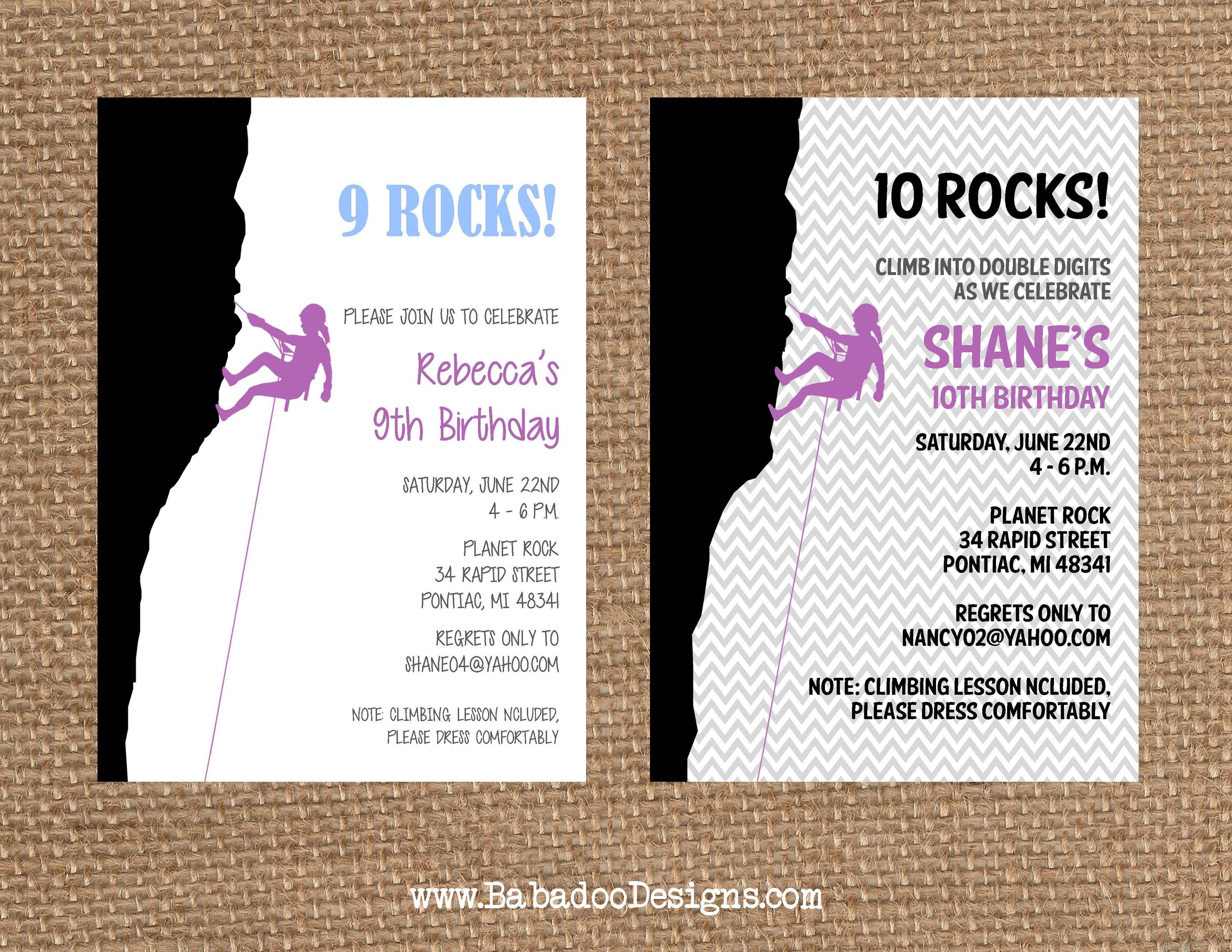 Rock Climbing Invitation : Rock Climbing Girl Invitation https://www ...