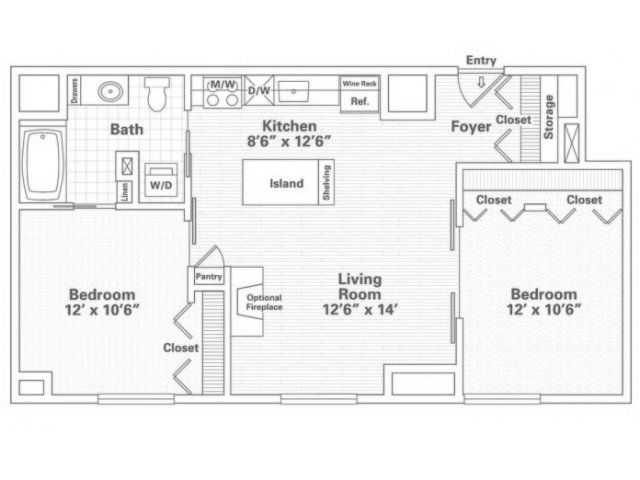 2 Bedroom 1 Bath Historic Floor Plan Of Property Eitel Building City Apartments Eitel Building City Apartment Floor Plans City Apartment Apartment Floor Plan