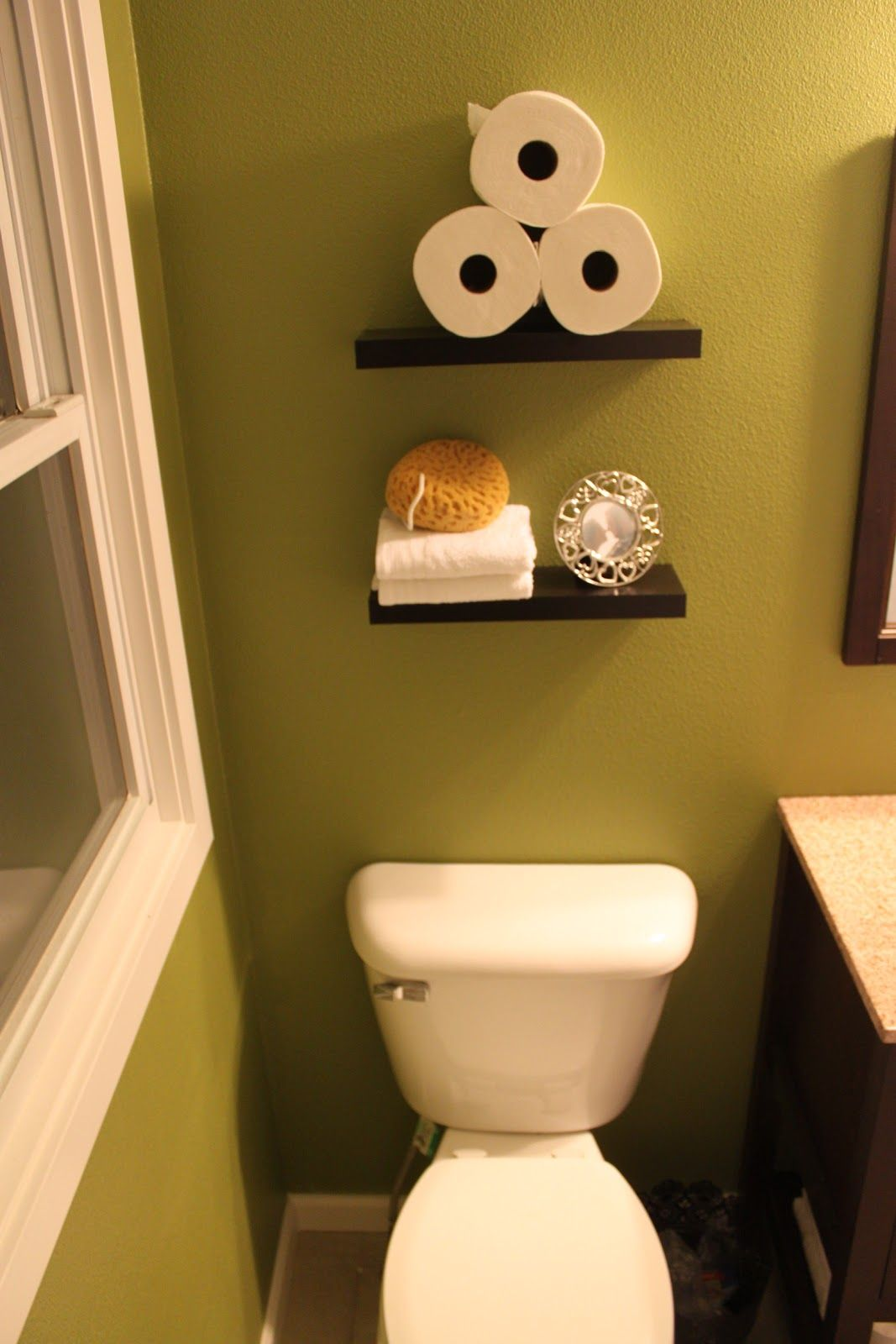 Before and after bathroom remodel. Behr Grape Leaves. Shelves from ...