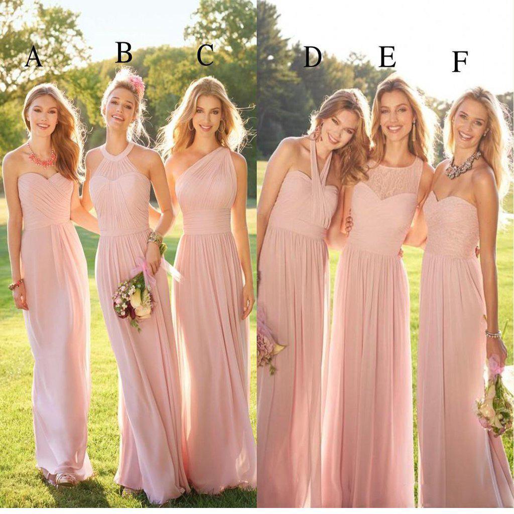 2020 Pastel Pink Cheap Long Lace Chiffon Bridesmaid Dresses Mismatched Popular Custom Bridesmaid Dress For Wedding Guest Wg247 Pastel Bridesmaid Dresses Lace Chiffon Bridesmaid Dress Pastel Pink Bridesmaid Dresses