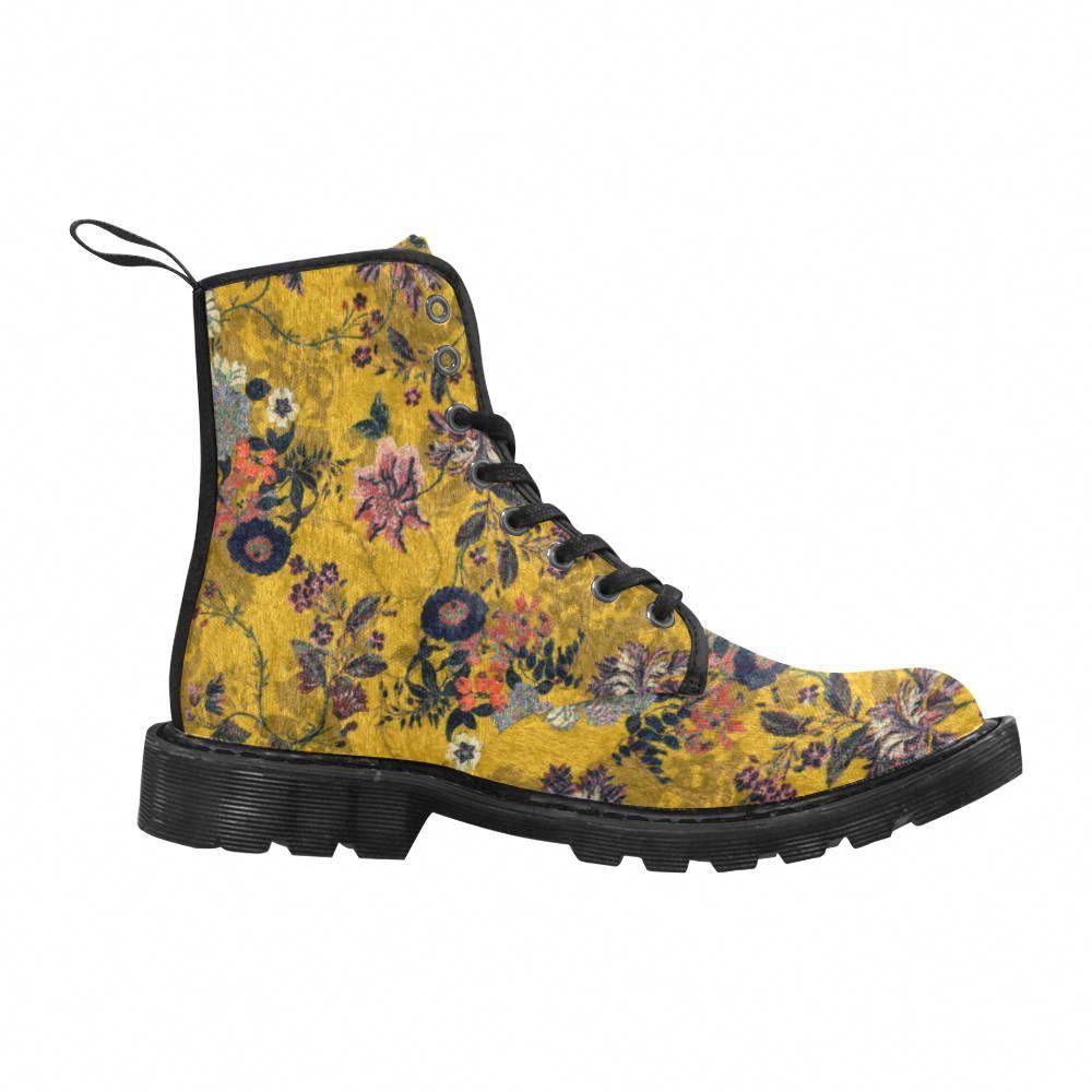 vente chaude en ligne beauté acheter bien magnifiques bottes jaune moutarde imprimé fleur, bottes en ...