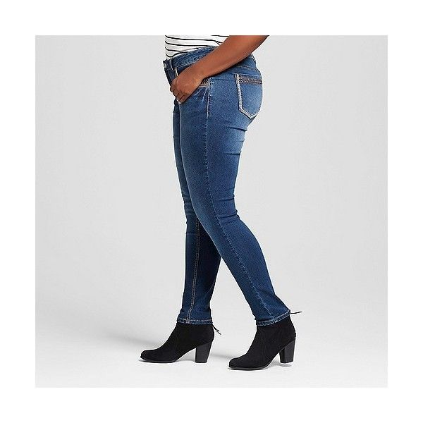 Women's Plus Size Copper Border Stud Patch Pocket Skinny Jean Dark... ($28) ❤ liked on Polyvore featuring plus size women's fashion, plus size clothing, plus size jeans, dark vintage blue, plus size, cut skinny jeans, womens plus size jeans, skinny fit jeans, dark rinse jeans and dark wash skinny jeans