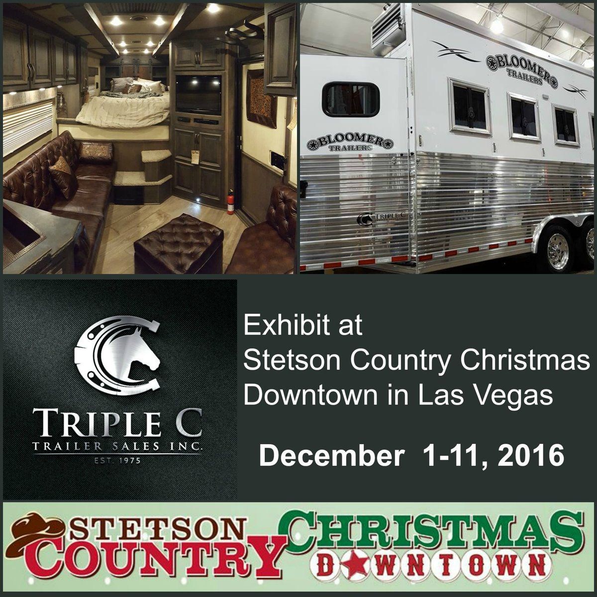 triple c trailers to exhibit at stetson country christmas in las vegas custom bloomer horse - Country Christmas Las Vegas