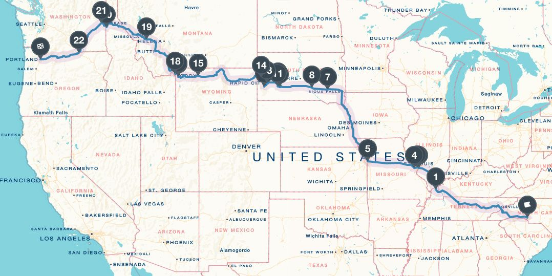 Road Trip Map from Charlotte NC to Portland OR   Adventures