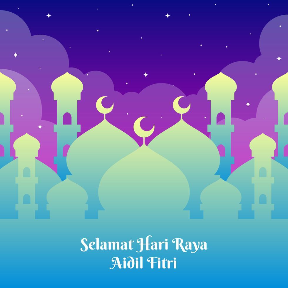 Hari Raya Greetings Template With Mosque Background Eid Card Designs Window Illustration Ramadan Background