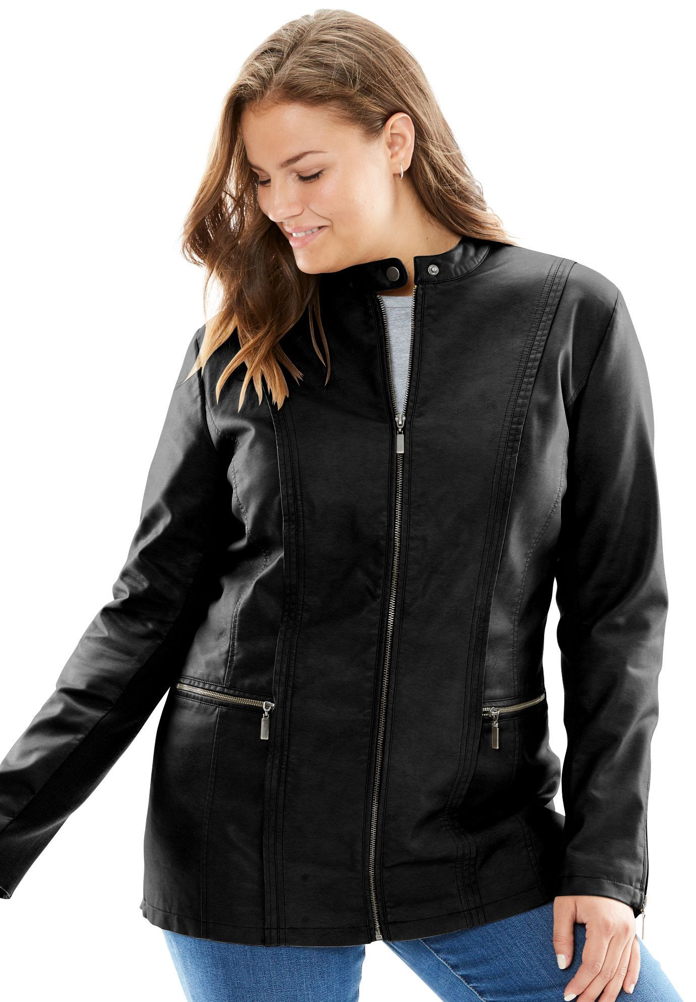 1314fc5af84 Faux Leather Moto Jacket - Women s Plus Size Clothing