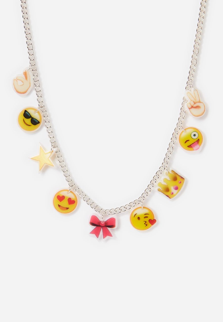 Emoji charm necklace original price available at justice