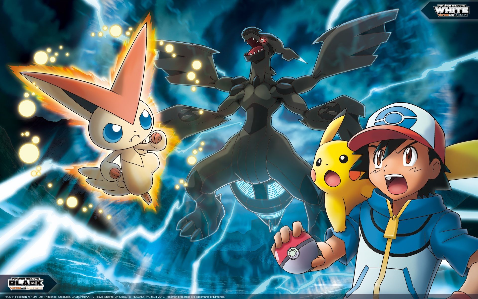 Ash Pikachu Victini And Zekrom Pokemon Movies Pokemon