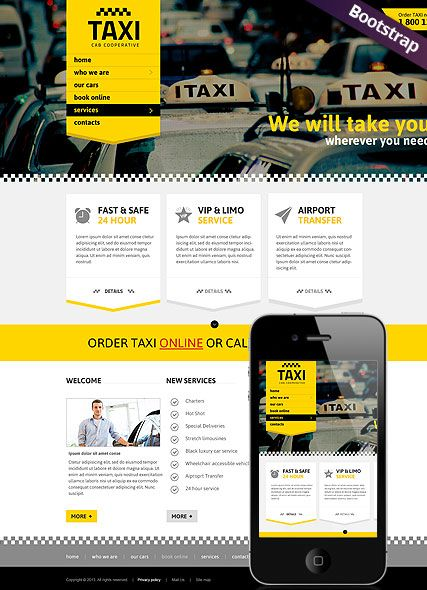 Bootstrap Website Templates Taxi Service Website Template Bootstrap Website Responsive