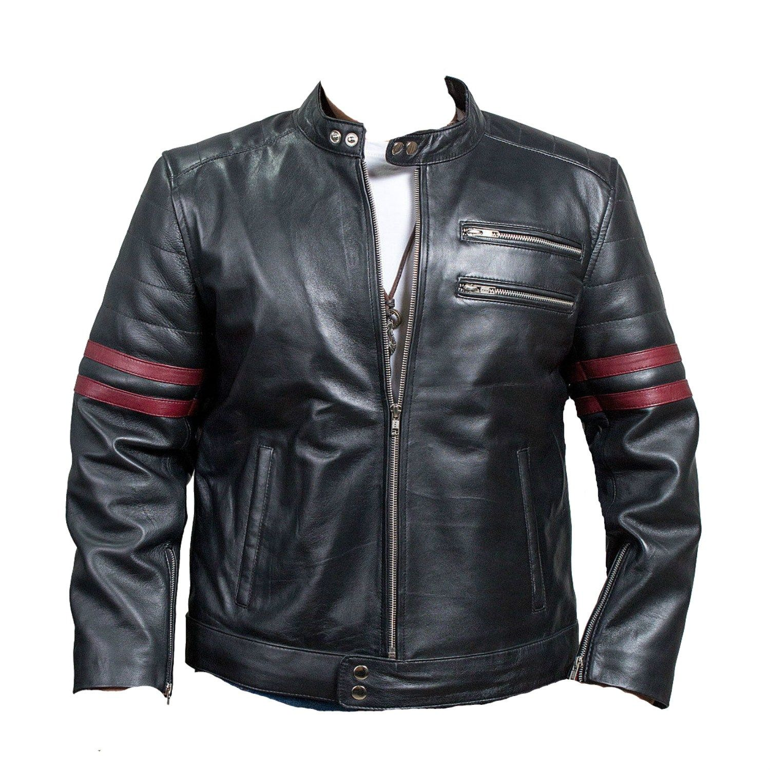 Men's Brando Classic Biker Black And White Motorcycle