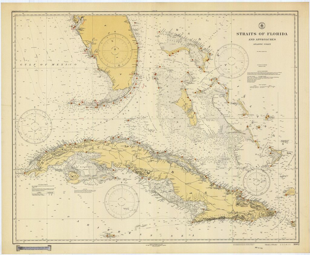 Straights of Florida Historical Map  1928