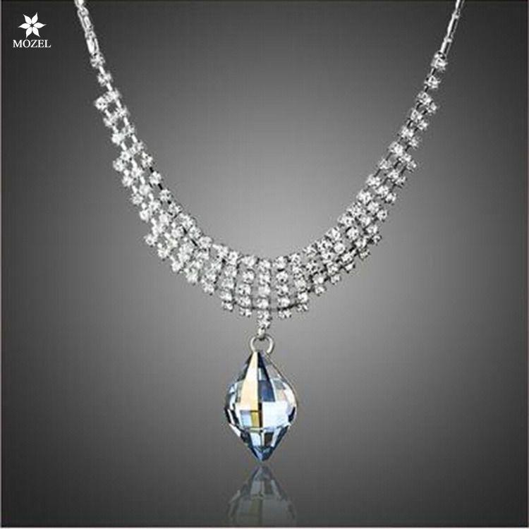 MOZEL Swarovski Elements Crystal Luxury Fashion Jewelry Blue CZ Women Neckalces #MOZEL #Pendant