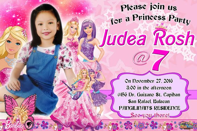 Sample Invitation For Seventh Birthday Barbie