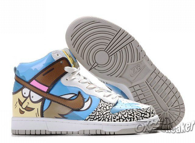 Discount Authentic Mens Nike Dunk High Shoes Blue/Brown/White/Cream Cartoon