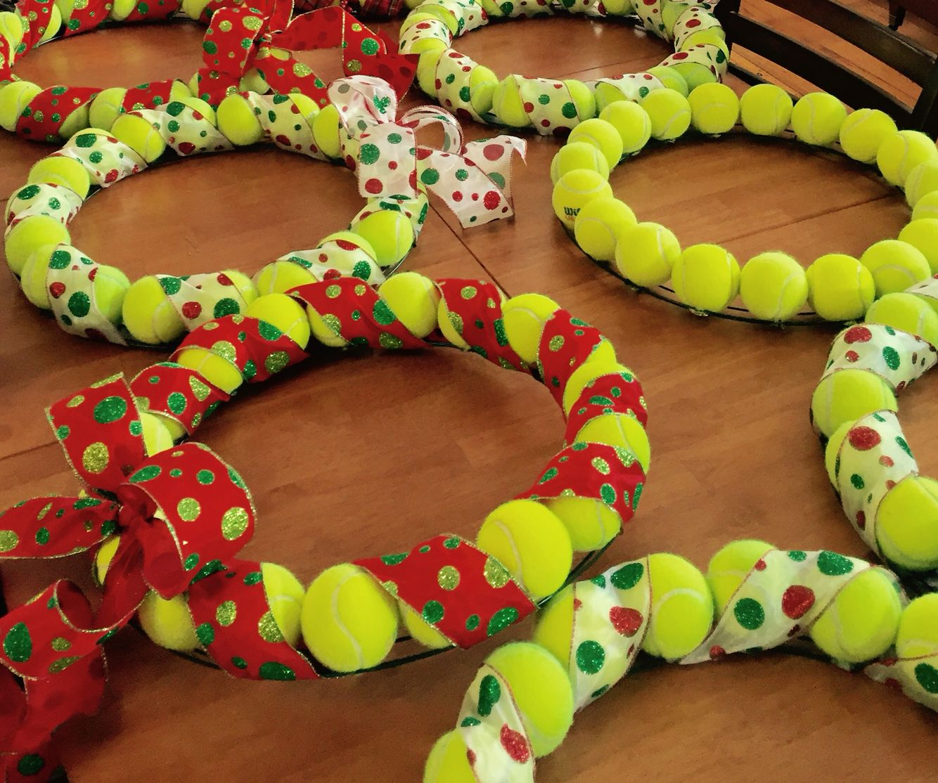 Holiday Tennis Ball Wreaths Tennis Crafts Tennis Party Decorations Tennis Holiday