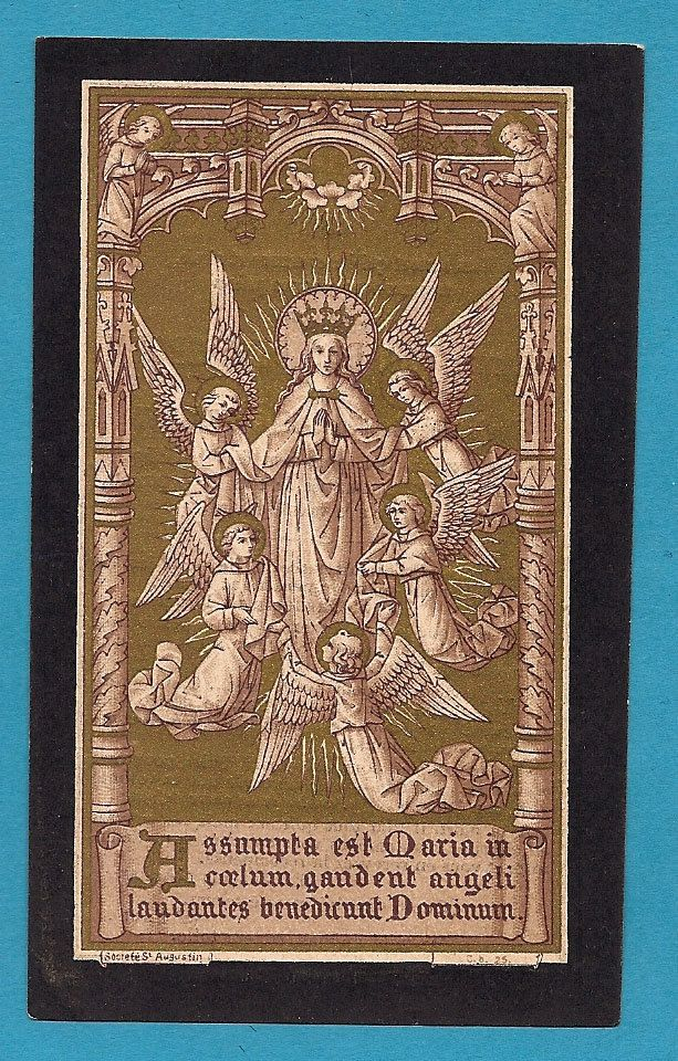 Holy Card Assumption Blessed Virgin Mary Gold Print Antique Holy Card. Rare Old 1899.. $15.00, via Etsy.