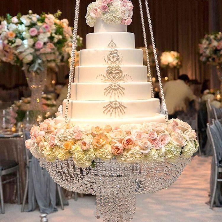 Ezlife Luxury Hanging Cake Rack Wedding Cake Stand Transparent Crystal Beads Acrylic Main Table De Bolo De Casamento Bolo De Casamento Suspenso Bolos Suspensos