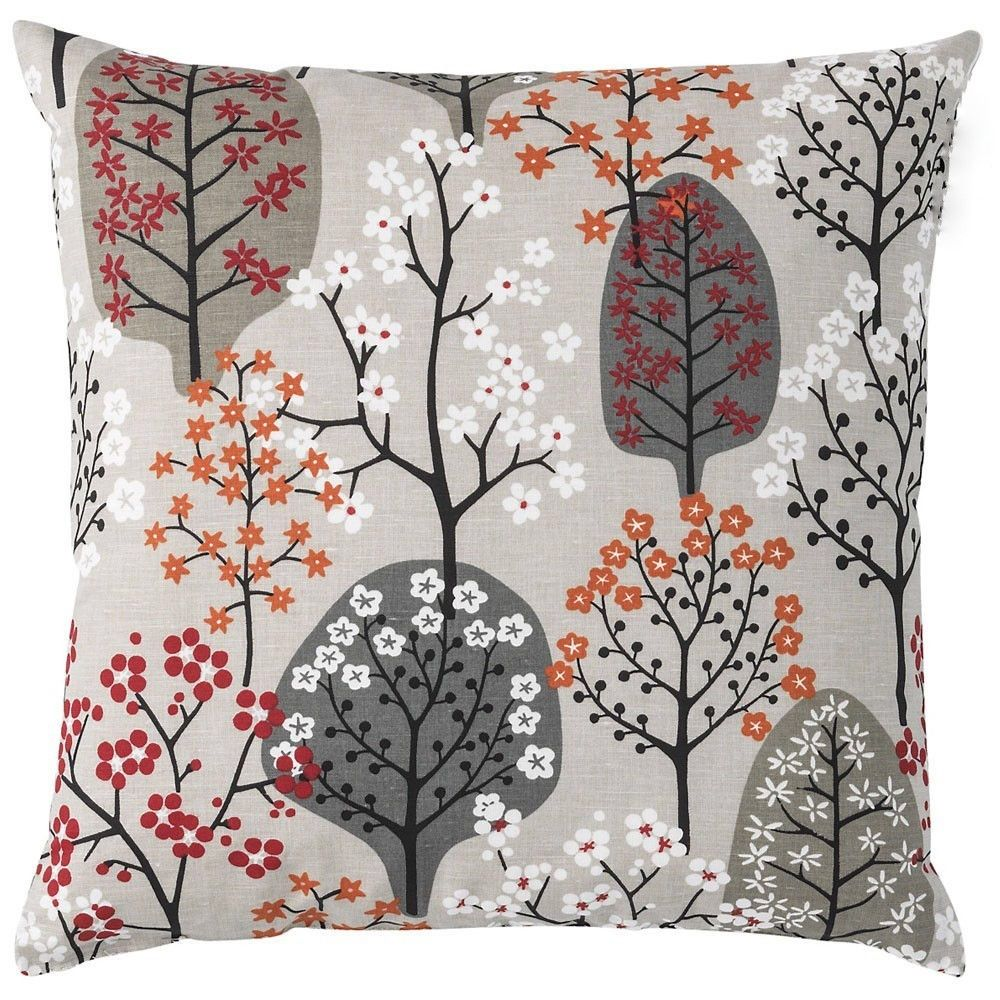 Etsy Throw Pillows Pillow Cover Linen Natural Orange Green Black Trees Flowers Herbs