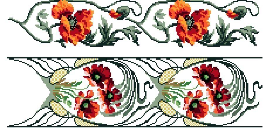 Art Nouveau Inspired California Poppy By Mason Larose: Poppies. Art Nouveau Style Cross Stitch Patterns. Instant