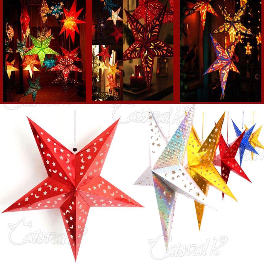 Elevenfy   PENTAGRAM LAMPSHADE PAPER STAR LANTERN HANGING WEDDING XMAS CHRISTMAS DECORATION