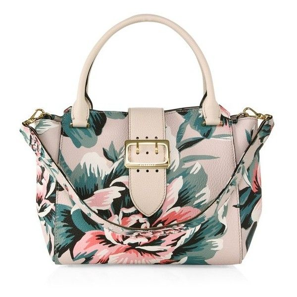 Burberry Medium Floral-Print Leather Buckle Tote ($2,495) ❤ liked on  Polyvore featuring