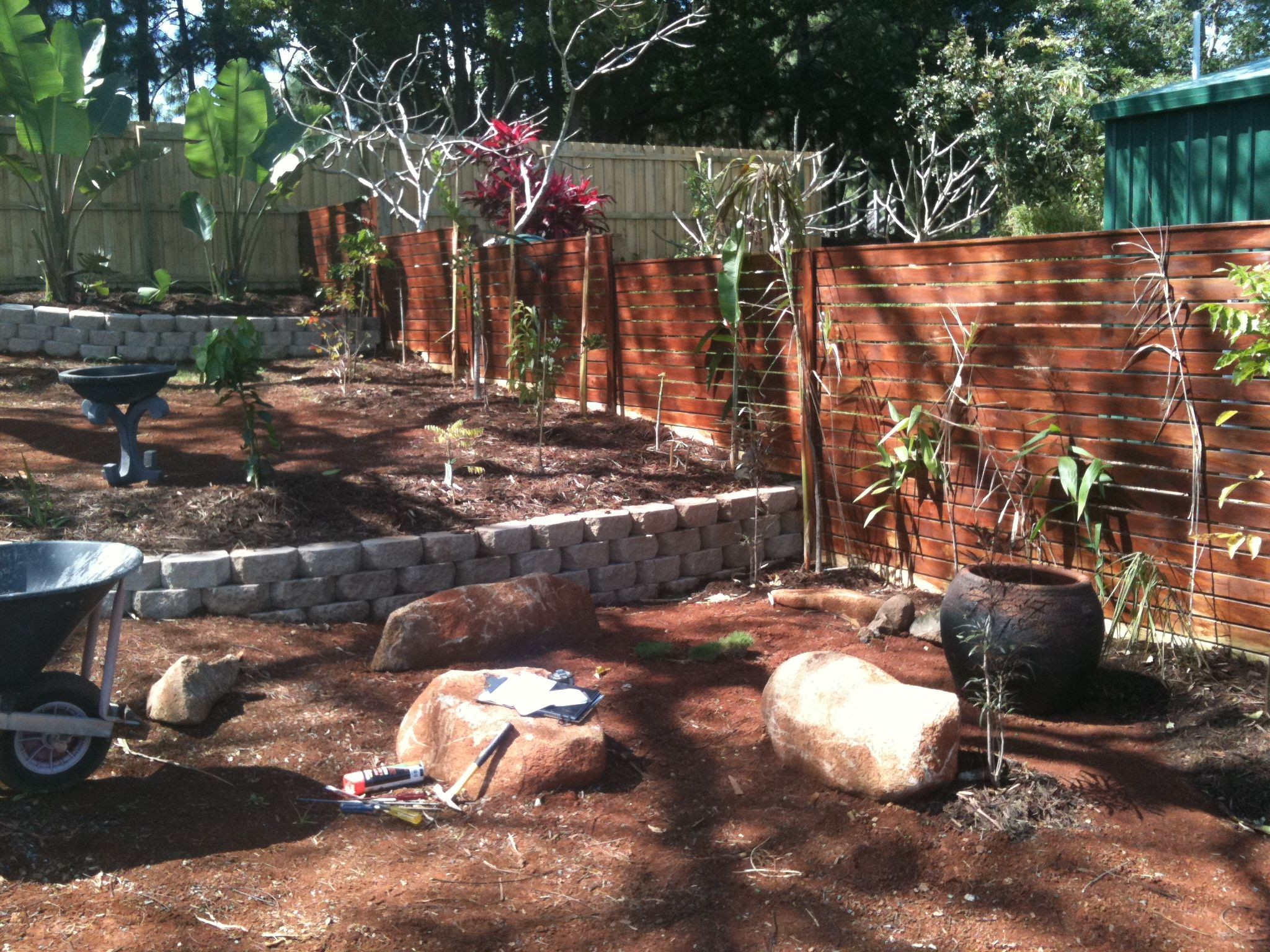 Retaining wall and Japanese garden prior to laying of turf and ...