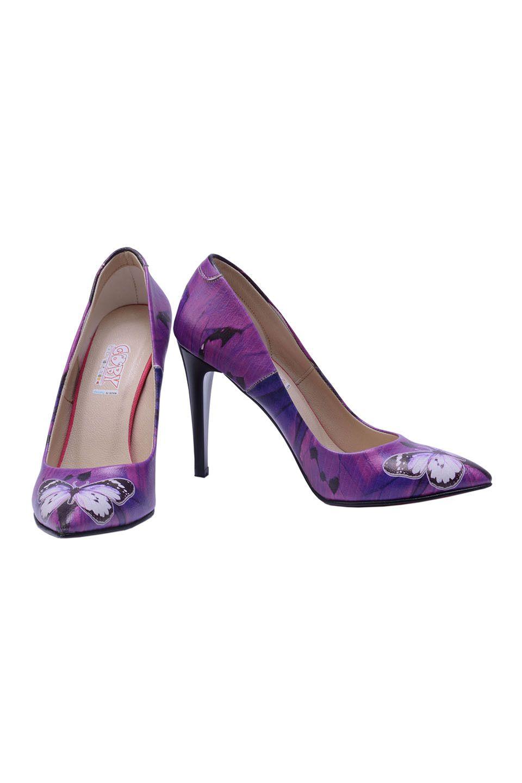 Butterflies Heels in Purple Multicolor