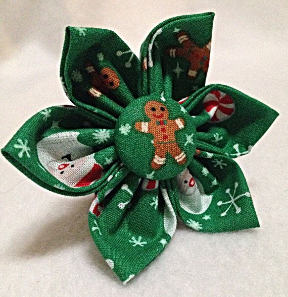 Dog Bow Tie or Flower Bow Christmas Green by BeasUnique on Etsy