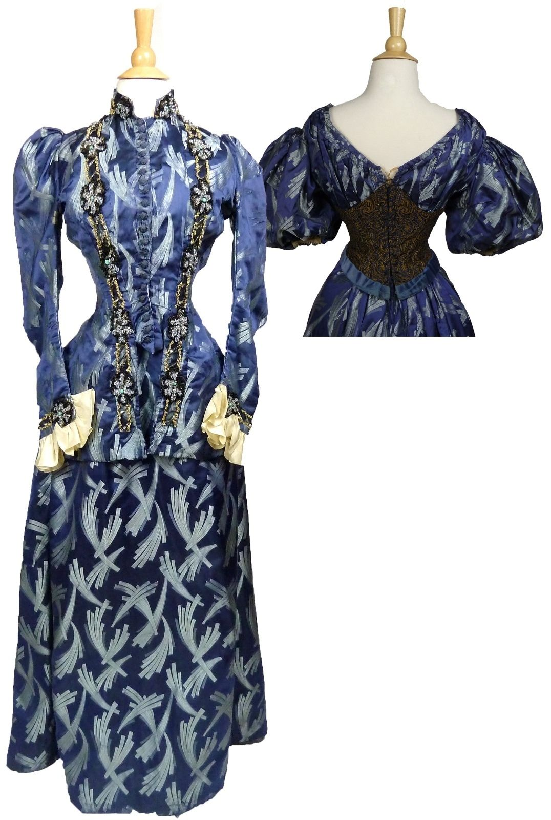 Blue silk brocade gown with matching beaded day and evening bodices