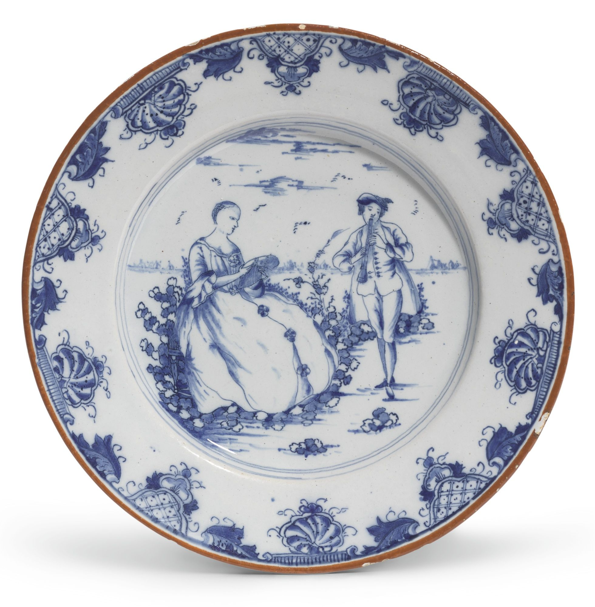 A Dutch Delft Blue And White Plate Mid 18th Century Painted With A Cartouche Of A Rustic Couple In A Landscape She Dutch Ceramic 18th Century Paintings Delft