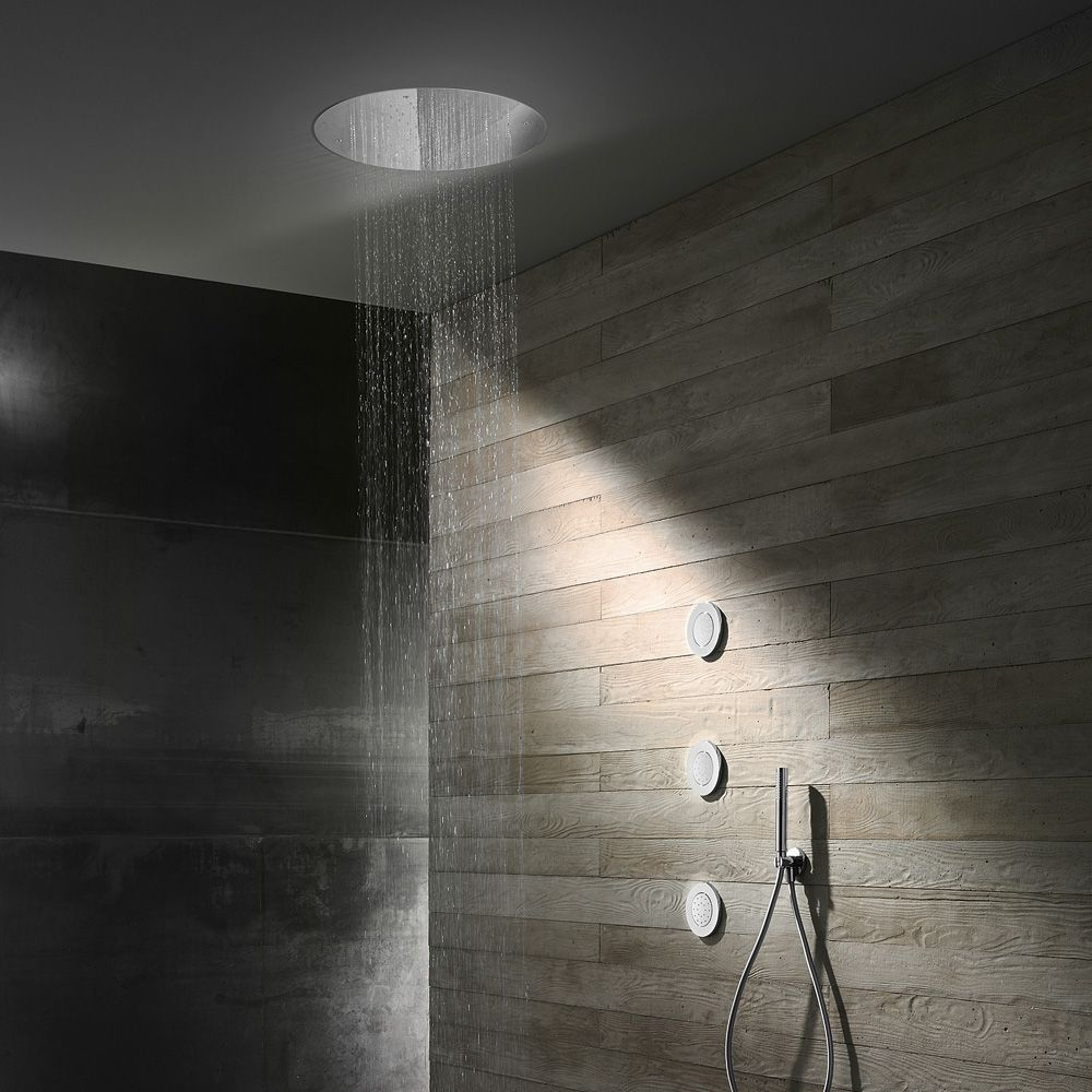 Herzbach Living Spa Overhead Rain Shower Recessed Installation O 500 Mm Brushed Stainless Steel 1 Ceiling Shower Head Bathroom Goals Brushed Stainless Steel