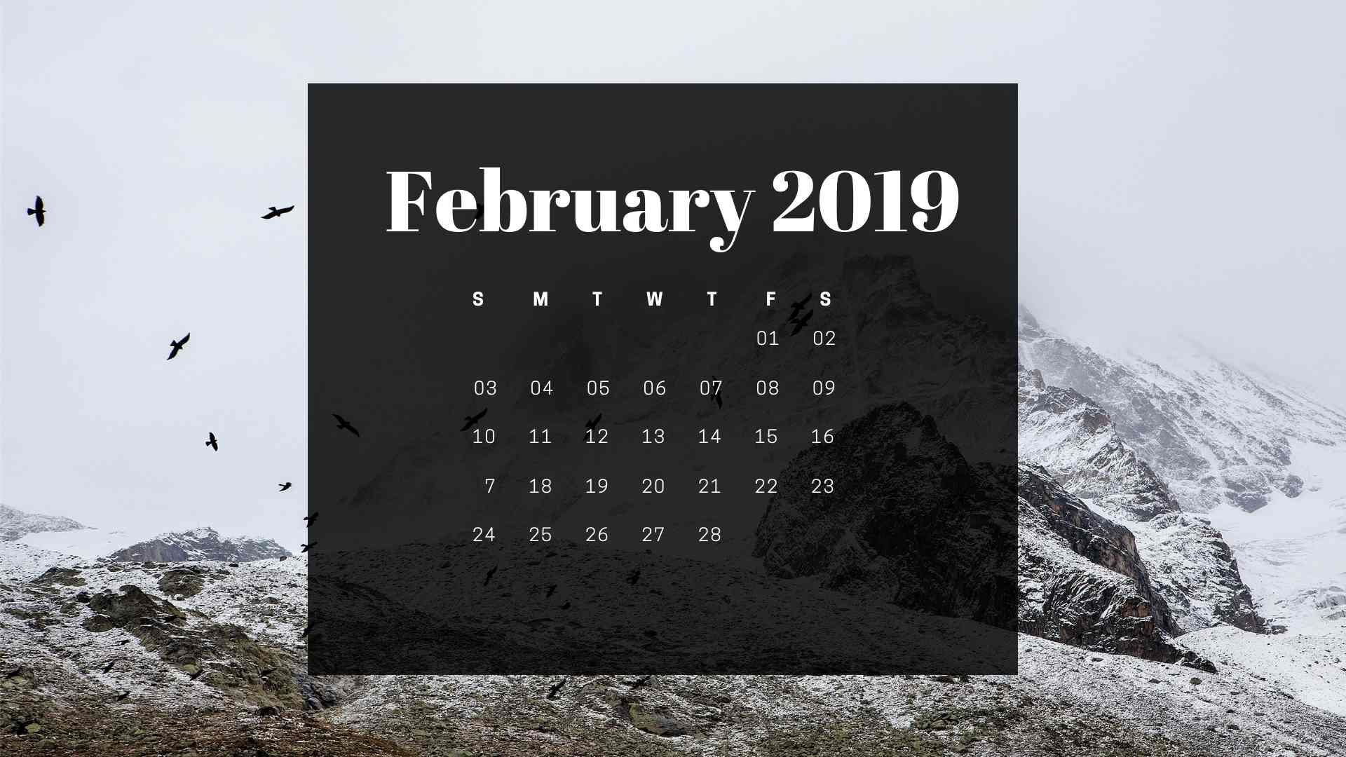 February Calendar M - F 2019 Stunning February 2019 Calendar Wallpaper Screen Saver. #Calendar