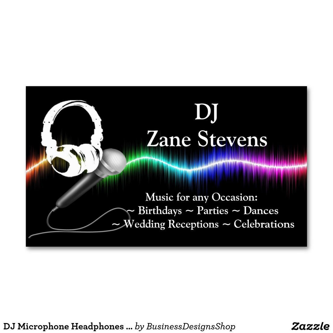 DJ Microphone Headphones Business Card Template | DJ/Music ...