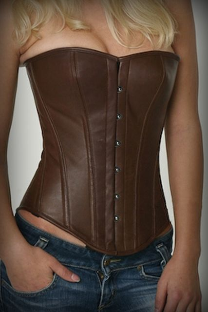 840810acdb Brown Leather Overbust Authentic Steel Boned Corset NS-1142 is a fabric  strong enough to stand up the demands of prolonged tight lacing Leather  Corset