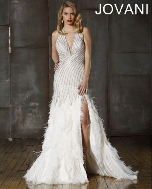 Gatsby Wedding Gown: White Embellished Vintage Jovani Pageant Dress 72629