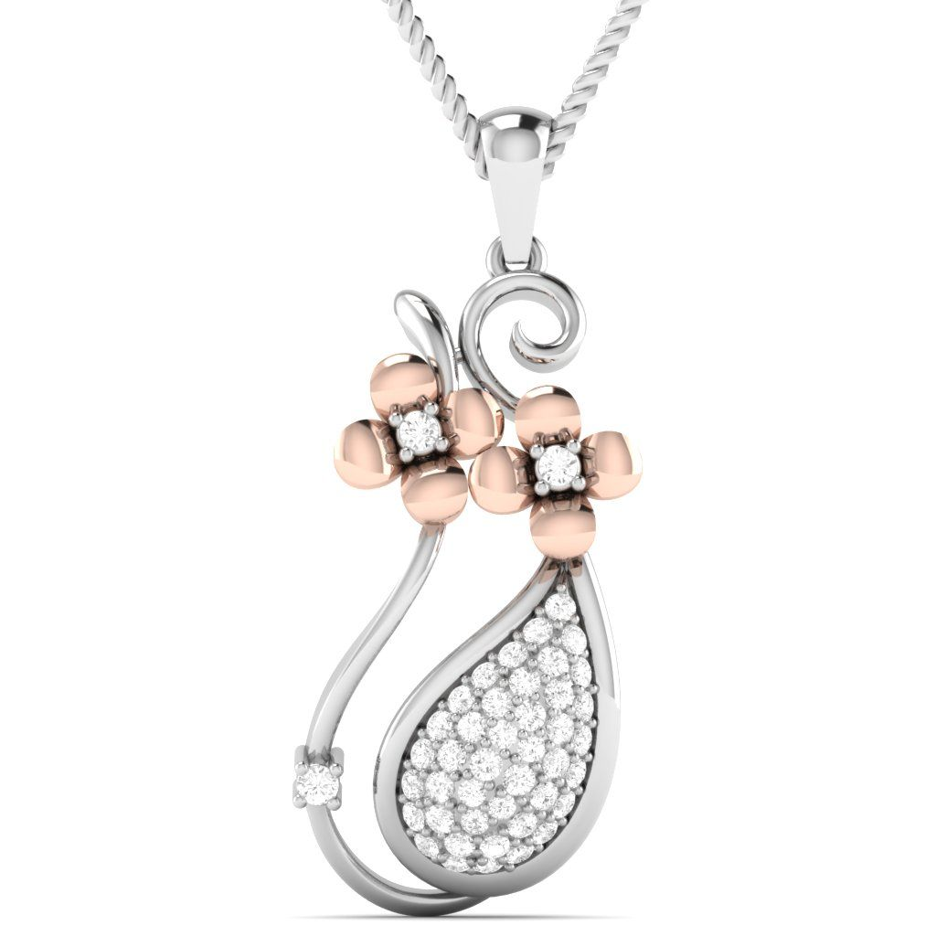 Amara bud cluster pendant studded in round brilliant diamonds gold