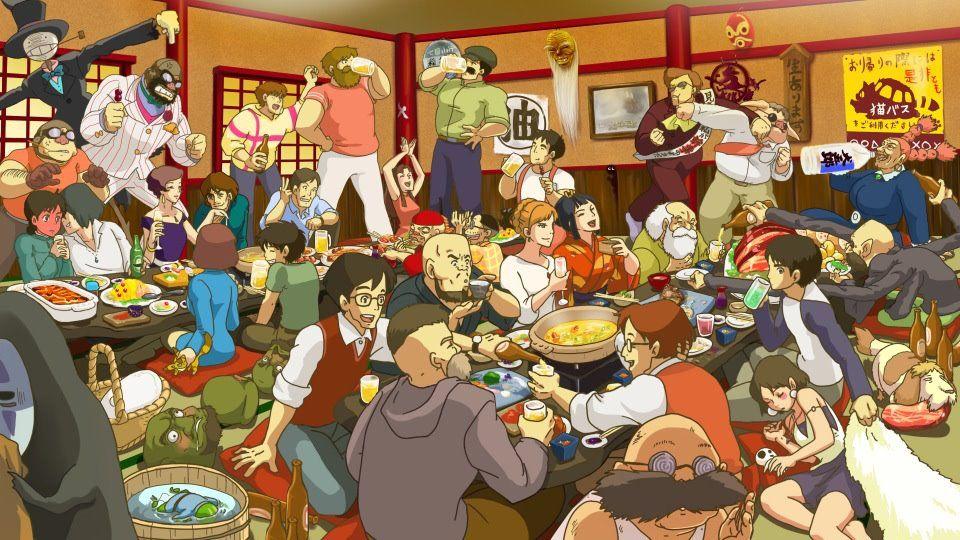 ジブリメインキャラ全員集合飲み会の様子 ナウシカ ジブリ ジブリ キャラクター