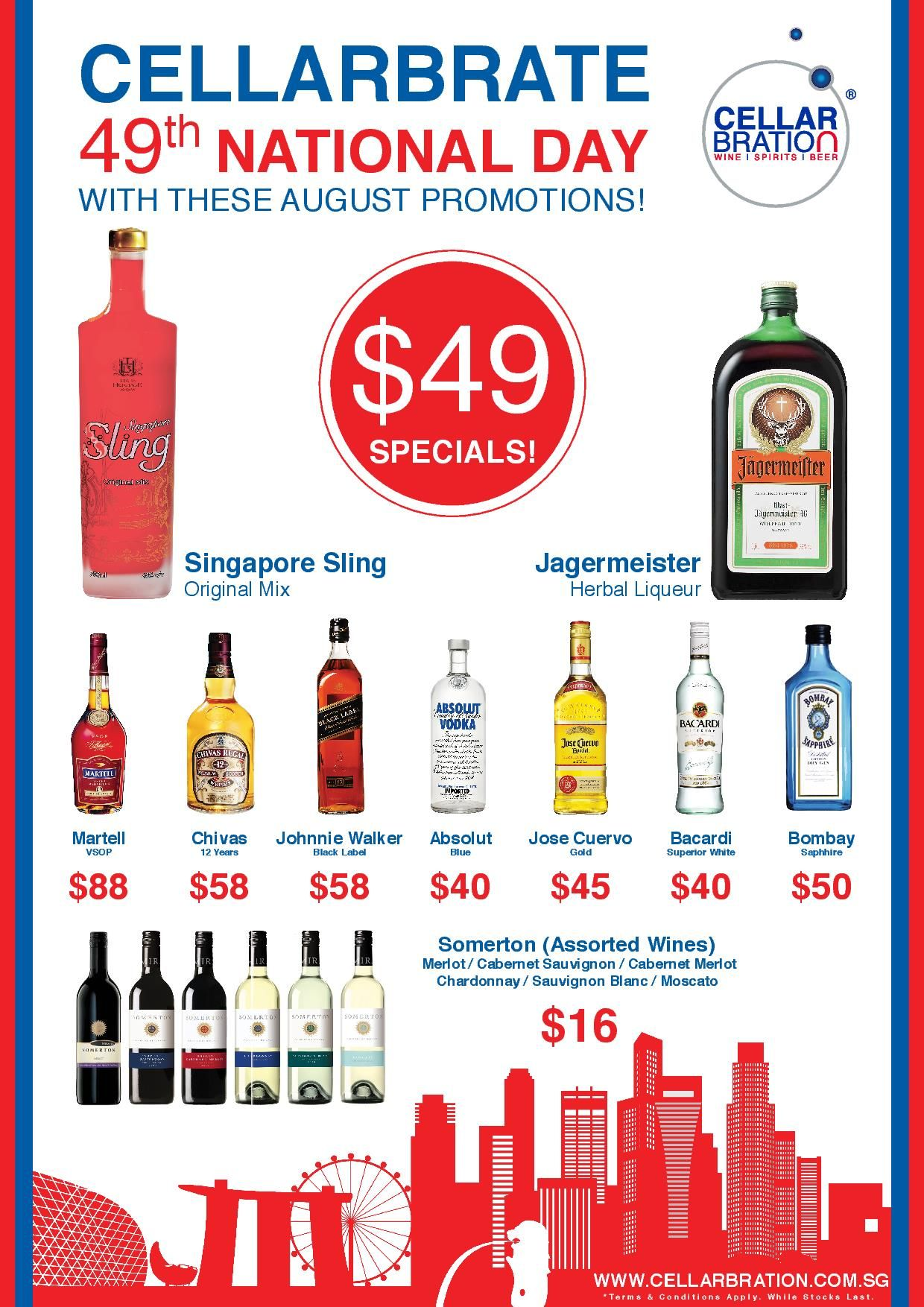 Happy 49th National Day Singapore Cellarbate With These Great Offers Www Cellarbration Com Sg Alcohol Shop Wine And Beer Wine And Spirits