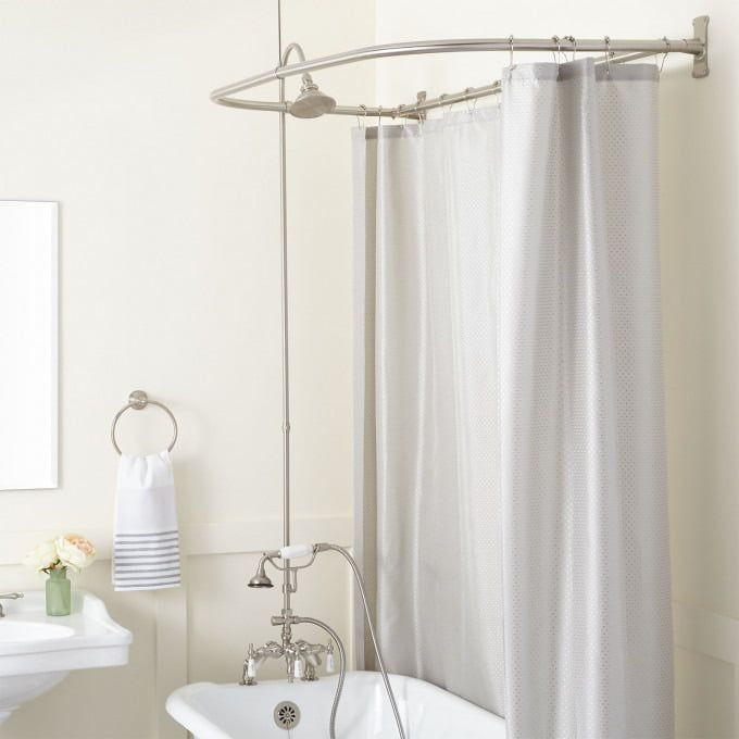 Rim Mount Clawfoot Tub Hand Shower Kit In Swing Arms In Porcelain
