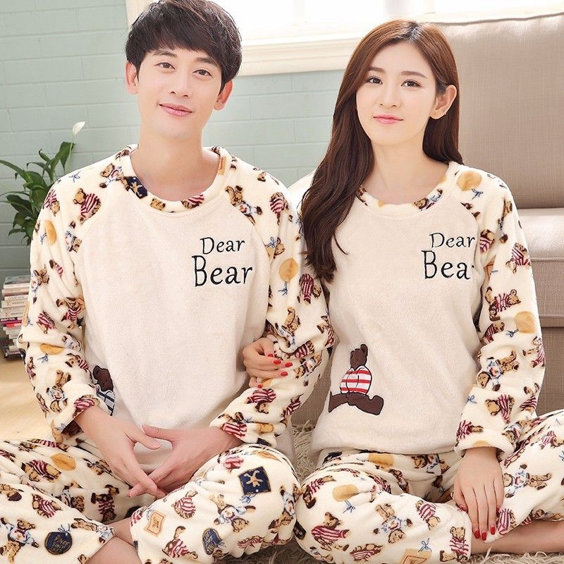 1455031ec0 Winter Couple Pajama Sets For Women Thick Warm Coral Velvet Pajamas Flannel  Long Sleeve Men Cartoon Bears Pants Sleepwear Autumn  Affiliate