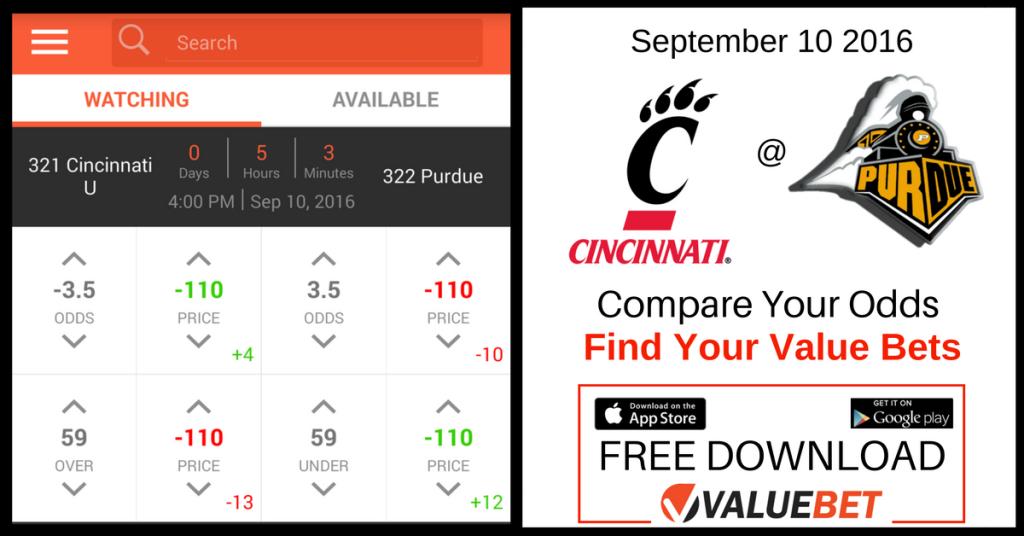 September 10 NCAAF Valuebet Cincinnati Purdue
