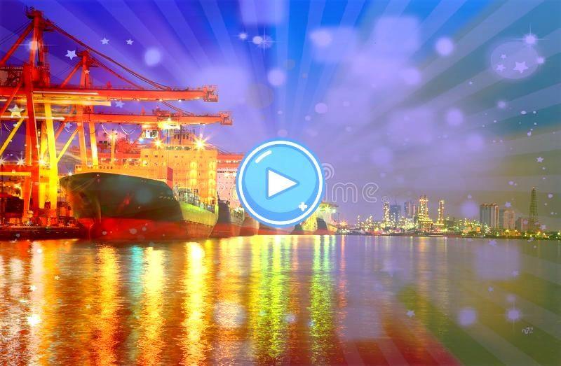 Container Cargo freight ship With working crane bridge in shipyard a Industrial Container Cargo freight ship With working crane bridge in shipyard a  Deniz Balıkları ve &...