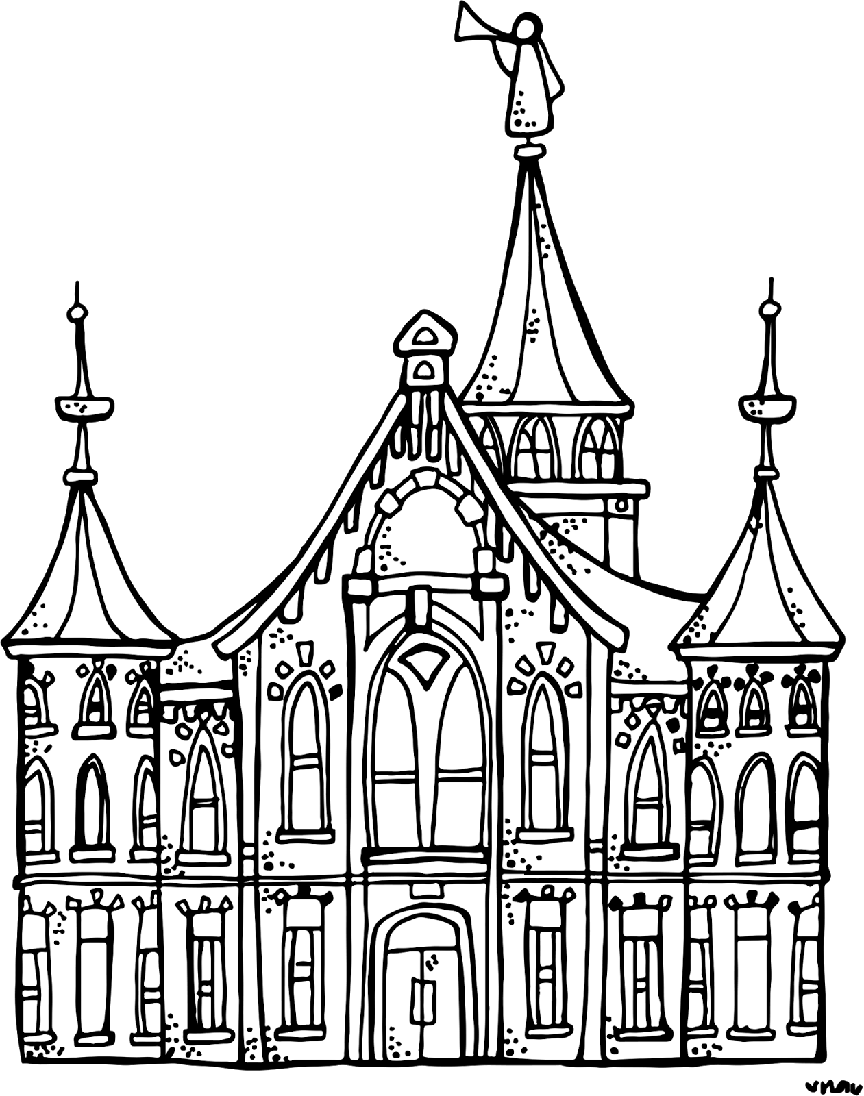 temple coloring pages Melonheadz LDS illustrating: Provo City Center Temple  temple coloring pages