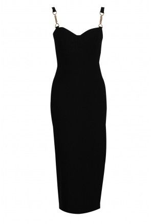 Black Side Split Midi Dress with Chain Detail