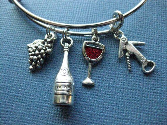 Wine Bangle Charm Bracelet Jewelry