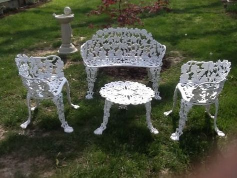 Antique Cast Iron 4 Piece Patio Furniture Set Grapevine Iron Lawn