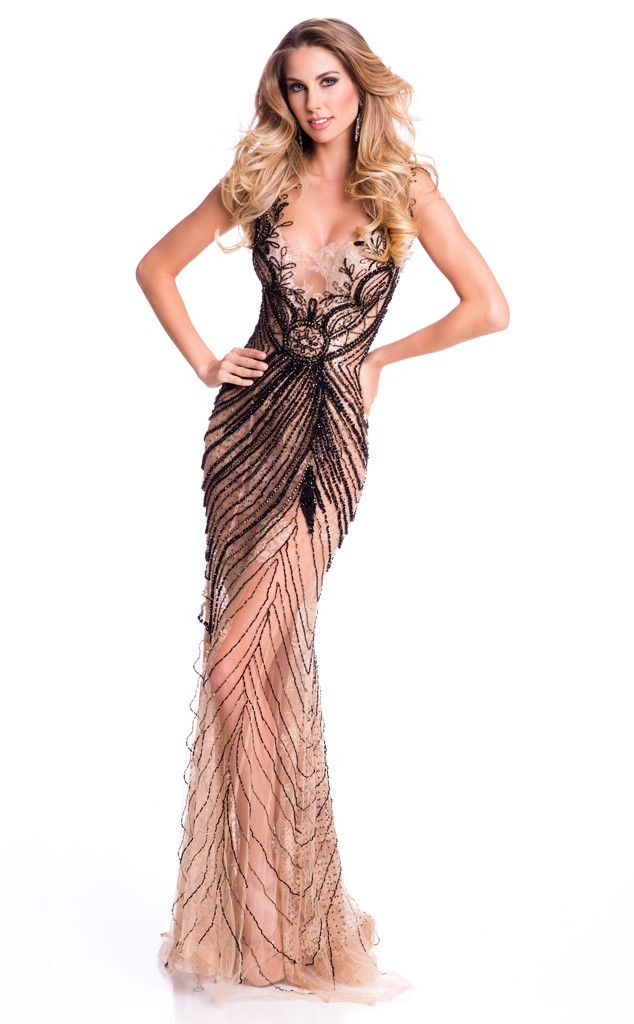 Miss Brazil from 2015 Miss Universe Contestants in Evening Gowns  Marthina Brandt gives off an edgy vibe in this nude and black sheer lace number.